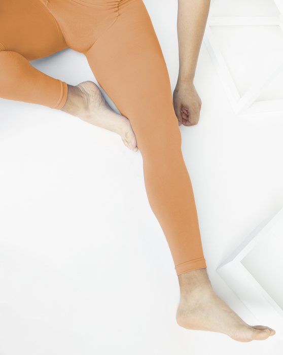 Light-Orange Womens Microfiber Ankle Length Footless Tights Style# 1025 | We Love Colors