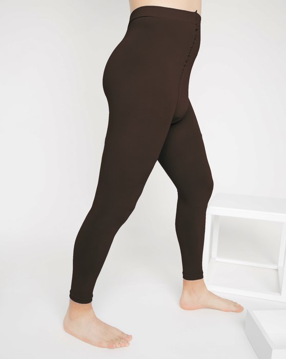 Brown Microfiber Ankle Length Footless Tights Style# 1025 | We Love Colors
