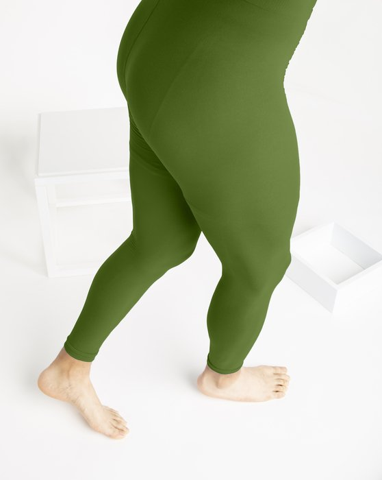 Olive Green Microfiber Ankle Length Footless Tights Style# 1025 | We Love Colors