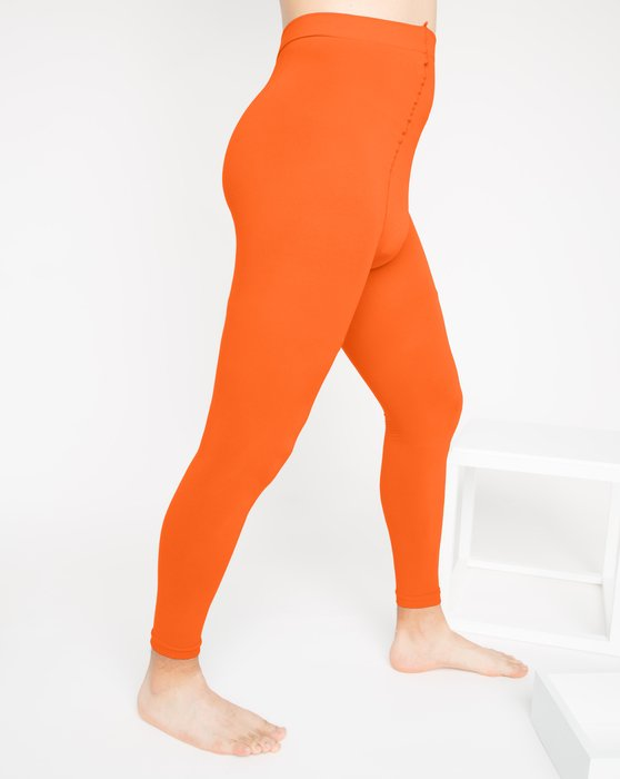 Orange Microfiber Ankle Length Footless Tights Style# 1025 | We Love Colors