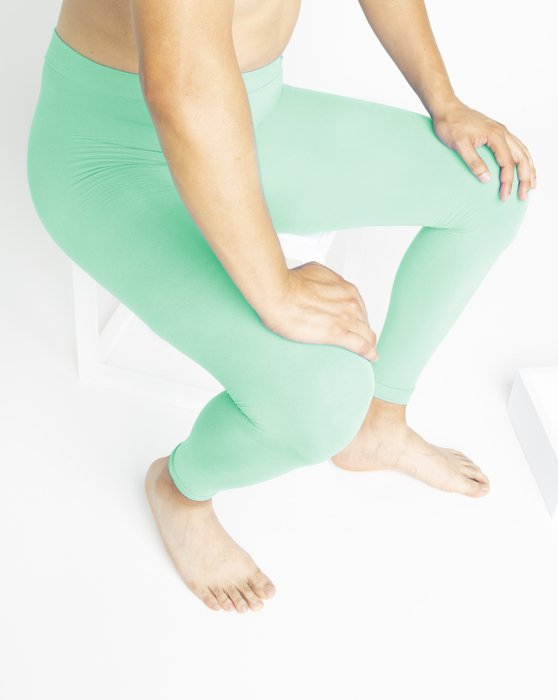 Pastel-Mint Womens Microfiber Ankle Length Footless Tights Style# 1025 | We Love Colors