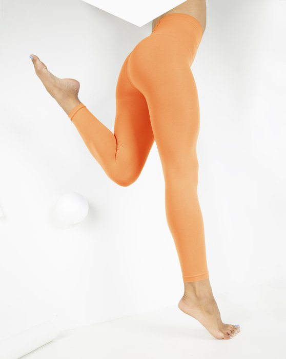 Light Orange Womens Microfiber Ankle Length Footless Tights Style# 1025 | We Love Colors