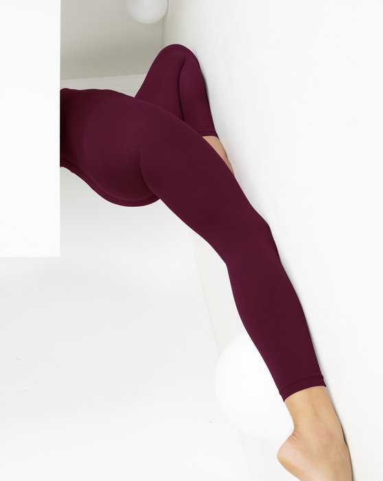 Maroon Womens Microfiber Ankle Length Footless Tights Style# 1025 | We Love Colors