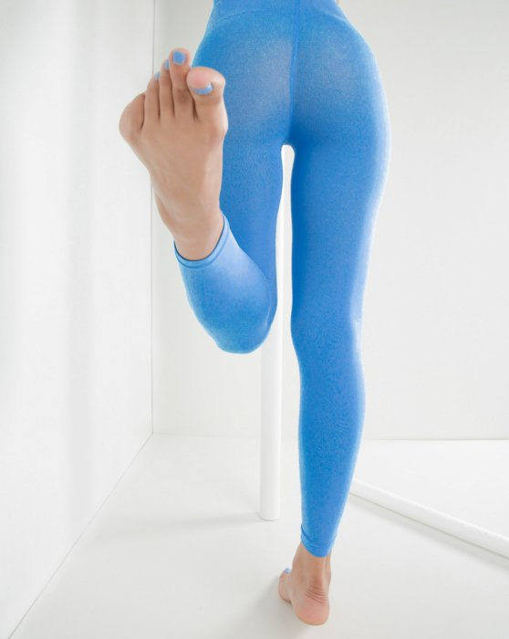 Medium Blue Microfiber Ankle Length Footless Tights Style# 1025 | We Love Colors