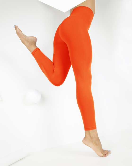 Neon-Orange Womens Microfiber Ankle Length Footless Tights Style# 1025 | We Love Colors