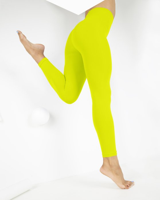 Neon-Yellow Womens Microfiber Ankle Length Footless Tights Style# 1025 | We Love Colors