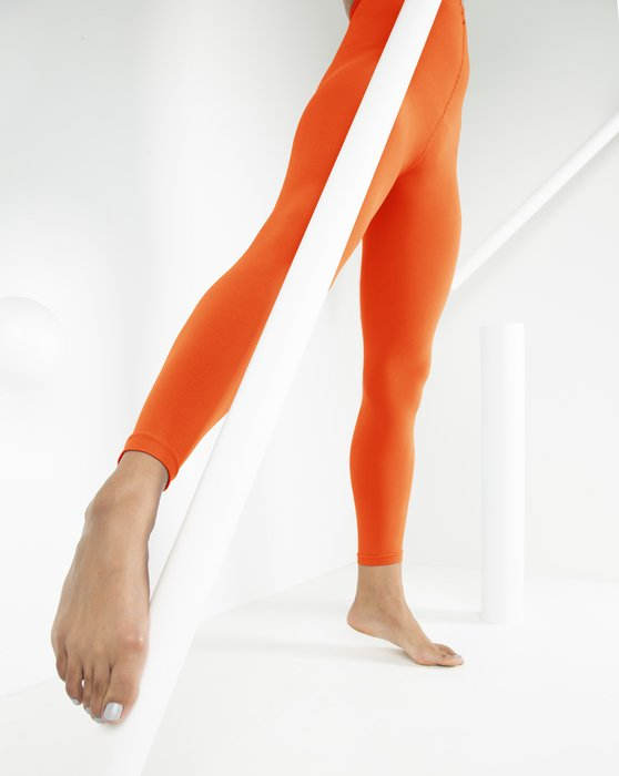 Orange Womens Microfiber Ankle Length Footless Tights Style# 1025 | We Love Colors