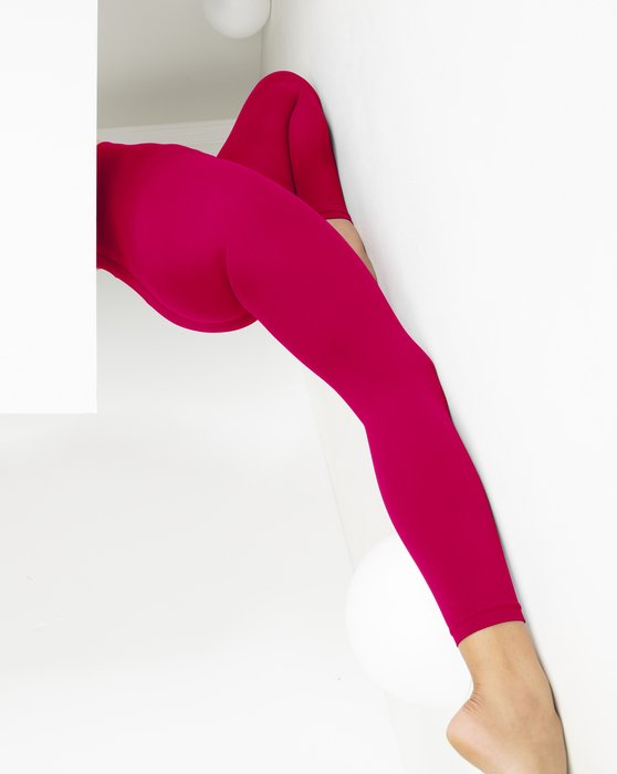 Red Womens Microfiber Ankle Length Footless Tights Style# 1025 | We Love Colors