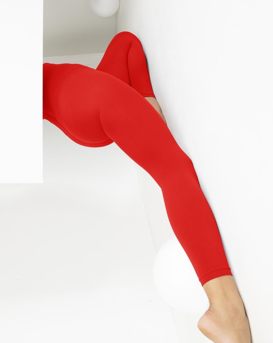 Scarlet-Red Womens Microfiber Ankle Length Footless Tights Style# 1025 | We Love Colors