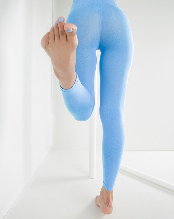 Sky Blue Microfiber Ankle Length Footless Tights Style# 1025 | We Love Colors