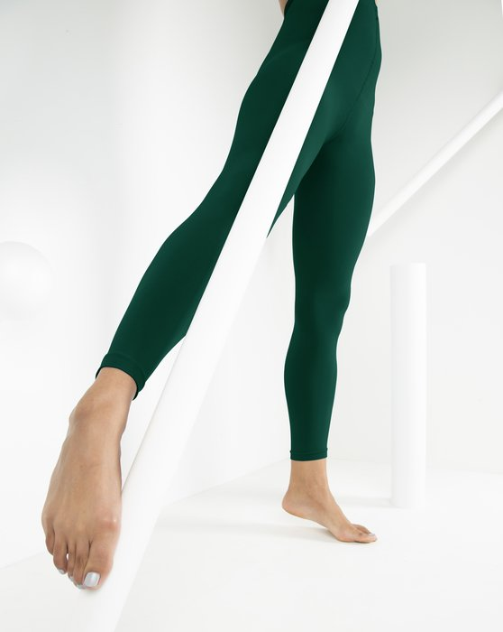 Spruce-Green Womens Microfiber Ankle Length Footless Tights Style# 1025 | We Love Colors