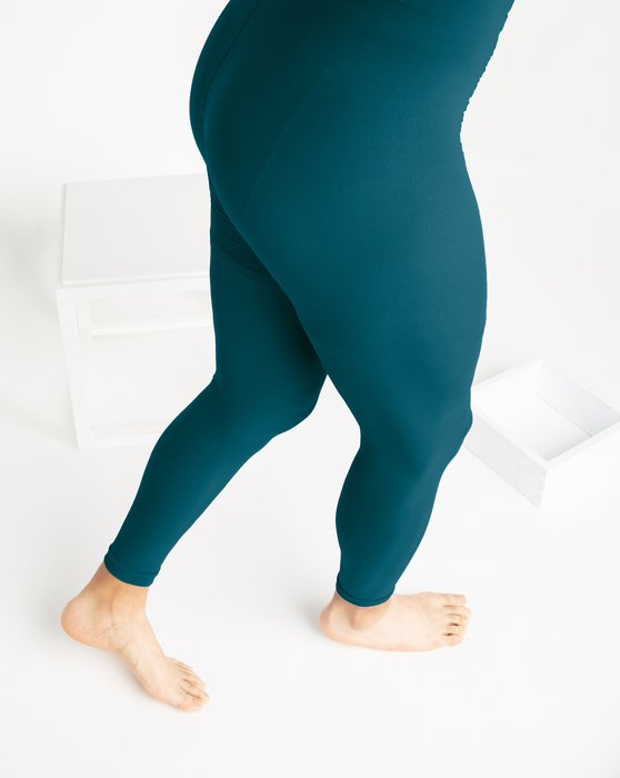 Teal Microfiber Ankle Length Footless Tights Style# 1025 | We Love Colors