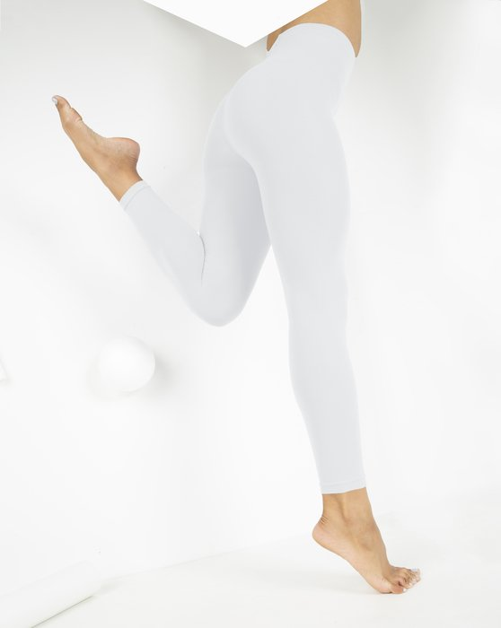 White Microfiber Ankle Length Footless Tights Style# 1025 | We Love Colors