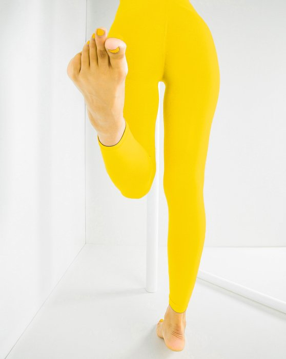 Yellow Microfiber Ankle Length Footless Tights Style# 1025 | We Love Colors