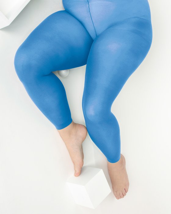Medium Blue Plus Sized Nylon/Lycra Footless Tights Style# 1041 | We Love Colors