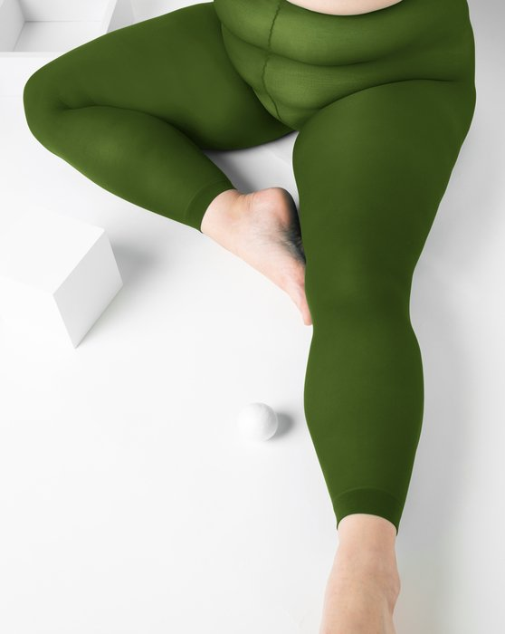 Olive-Green Womens Plus Sized Nylon/Lycra Footless Tights Style# 1041 | We Love Colors
