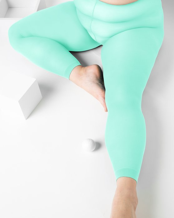 Pastel-Mint Womens Plus Sized Nylon/Lycra Footless Tights Style# 1041 | We Love Colors