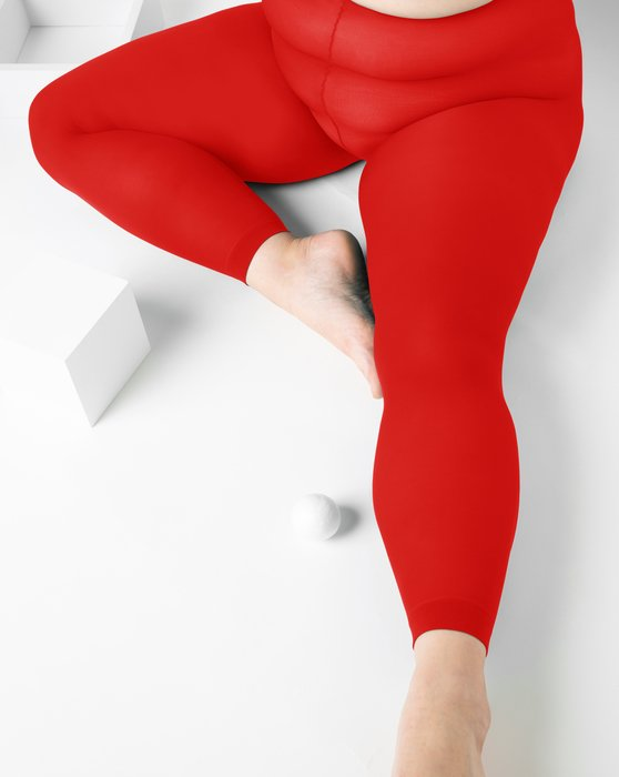 Scarlet Red Womens Plus Sized Nylon/Lycra Footless Tights Style# 1041 | We Love Colors