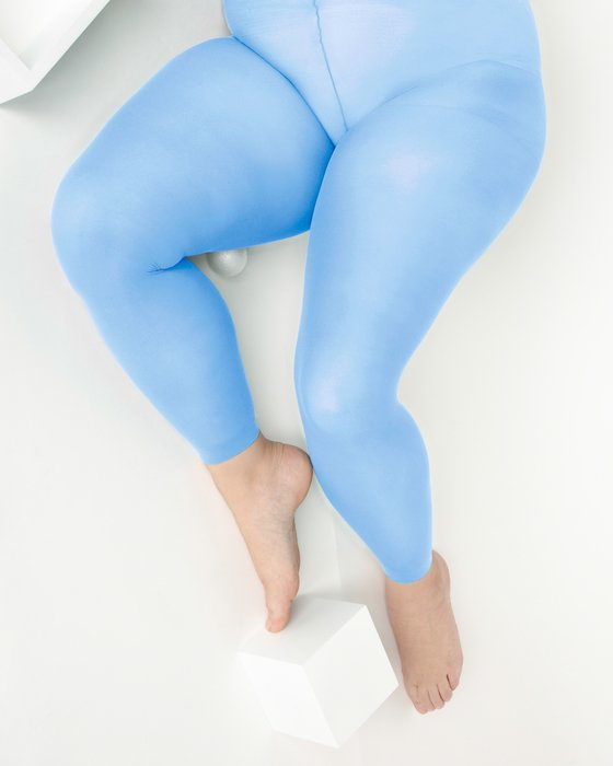 Sky Blue Plus Sized Nylon/Lycra Footless Tights Style# 1041 | We Love Colors