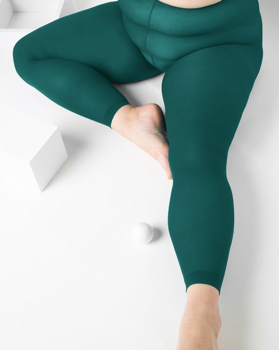 Spruce-Green Womens Plus Sized Nylon/Lycra Footless Tights Style# 1041 | We Love Colors