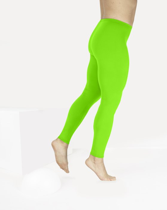 Neon Green Footless Performance Tights Leggings Style# 1047 | We Love Colors