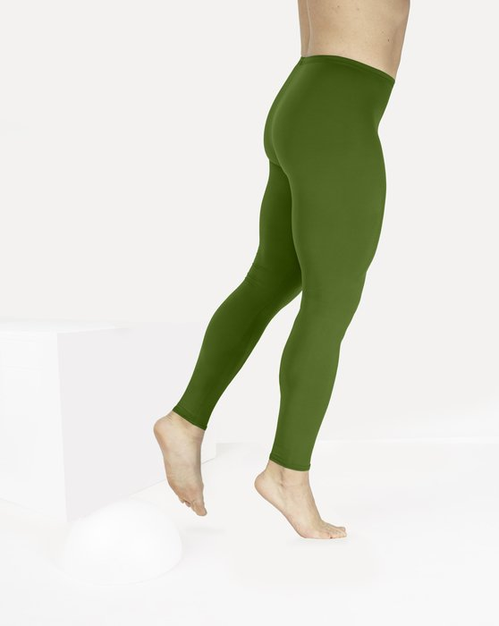 Olive-Green Womens Footless Performance Tights Leggings Style# 1047 | We Love Colors