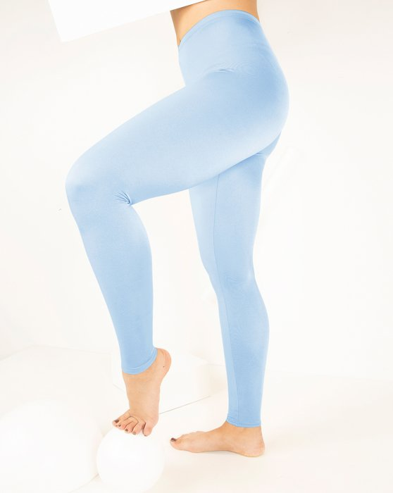 Baby-Blue Womens Footless Performance Tights Leggings Style# 1047 | We Love Colors