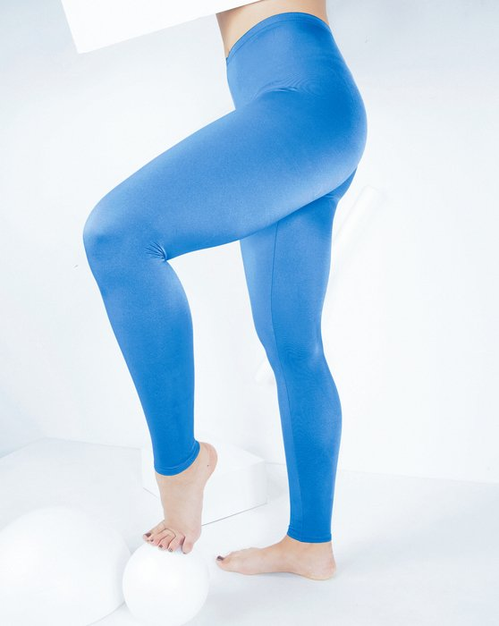 Medium-Blue Womens Footless Performance Tights Leggings Style# 1047 | We Love Colors