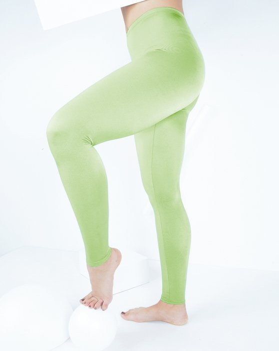 Mint-Green Womens Footless Performance Tights Leggings Style# 1047 | We Love Colors