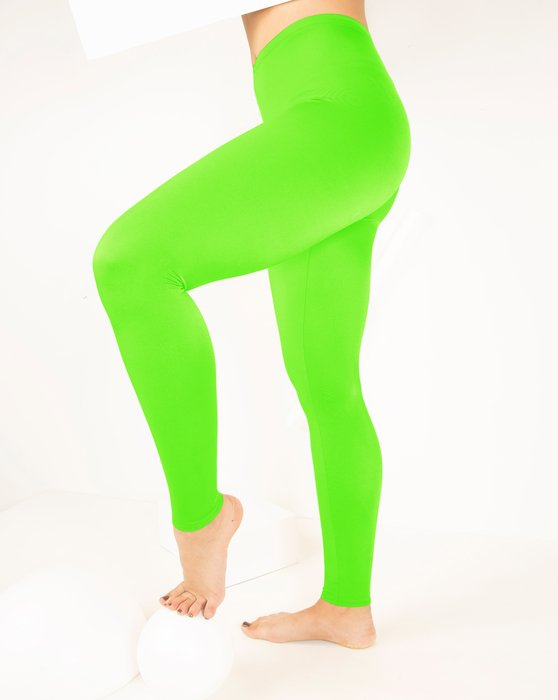 Neon-Green Womens Footless Performance Tights Leggings Style# 1047 | We Love Colors