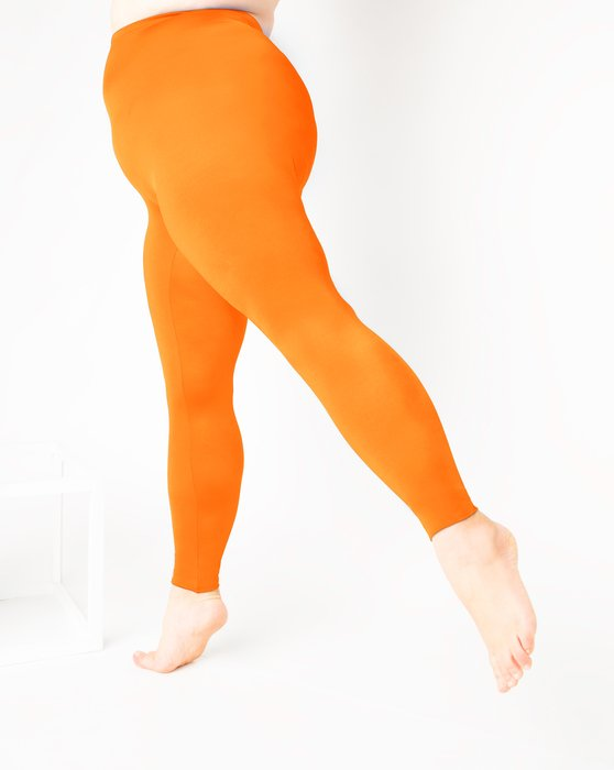 Neon-Orange Womens Footless Performance Tights Leggings Style# 1047 | We Love Colors