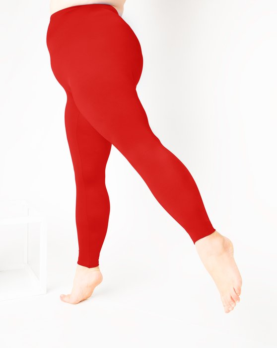 Scarlet-Red Womens Footless Performance Tights Leggings Style# 1047 | We Love Colors