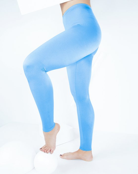 Sky-Blue Womens Footless Performance Tights Leggings Style# 1047 | We Love Colors