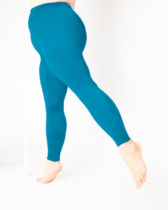 Turquoise Womens Footless Performance Tights Leggings Style# 1047 | We Love Colors