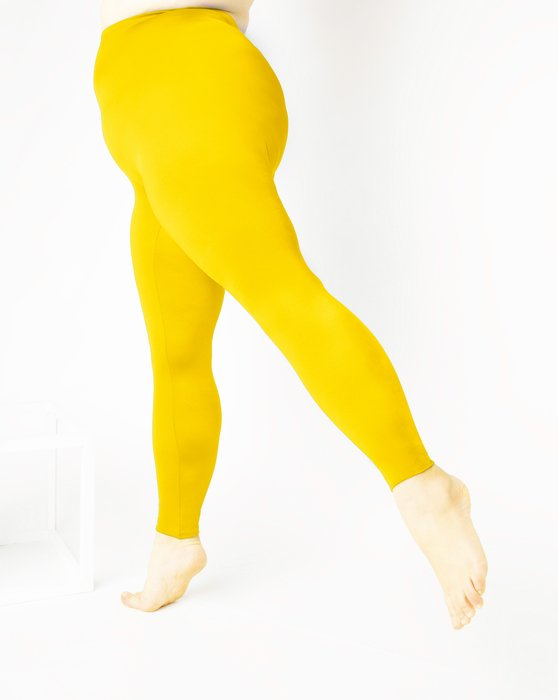 Yellow Womens Footless Performance Tights Leggings Style# 1047 | We Love Colors