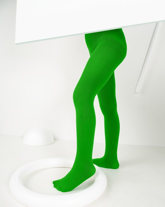 Kelly-Green Kids Microfiber Tights Style# 1075 | We Love Colors
