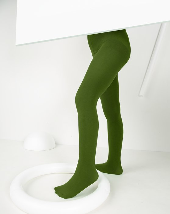 Olive-Green Kids Microfiber Tights Style# 1075 | We Love Colors