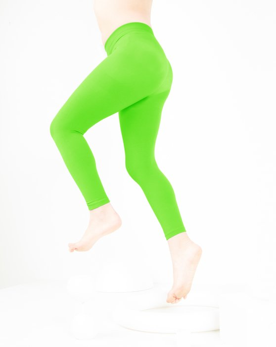 Neon-Green Kids Microfiber Footless Tights Style# 1077   We Love Colors