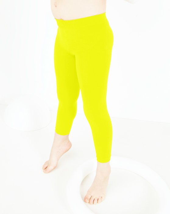 Neon Yellow Kids Microfiber Footless Tights Style# 1077 | We Love Colors