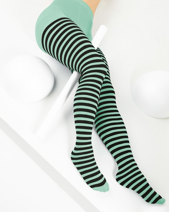 Dusty-Green Womens Black Striped Tights Style# 1201 | We Love Colors