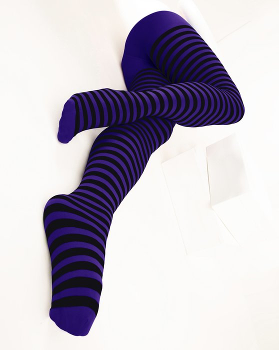 Purple Womens Black Striped Tights Style# 1201 | We Love Colors