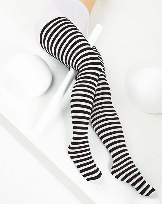 White Womens Black Striped Tights Style# 1201 | We Love Colors