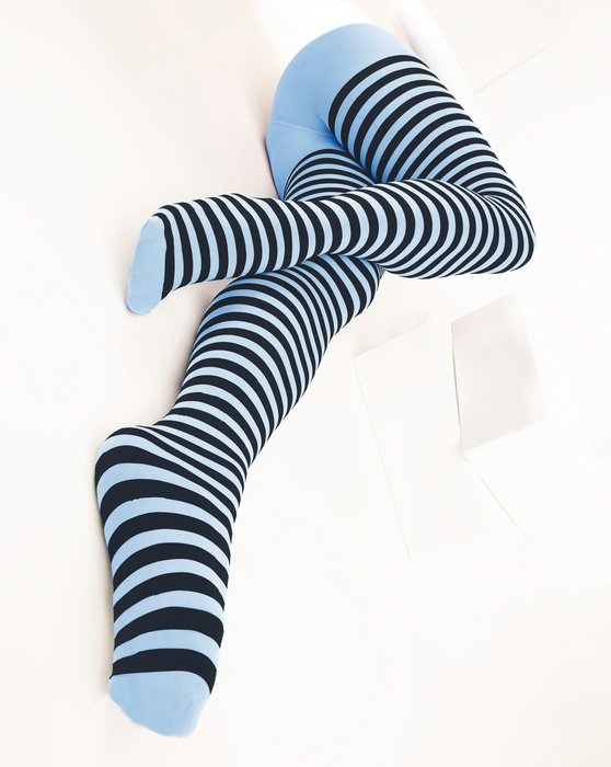Baby-Blue Womens Black Striped Tights Style# 1202 | We Love Colors
