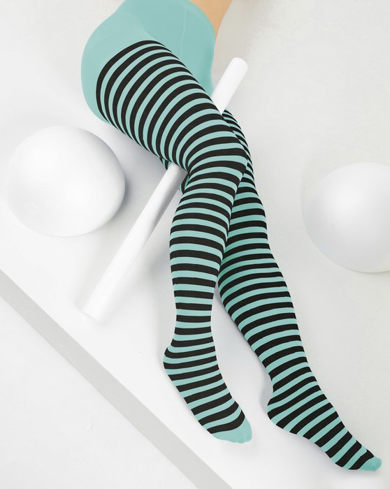 Dusty-Green Womens Black Striped Tights Style# 1202 | We Love Colors