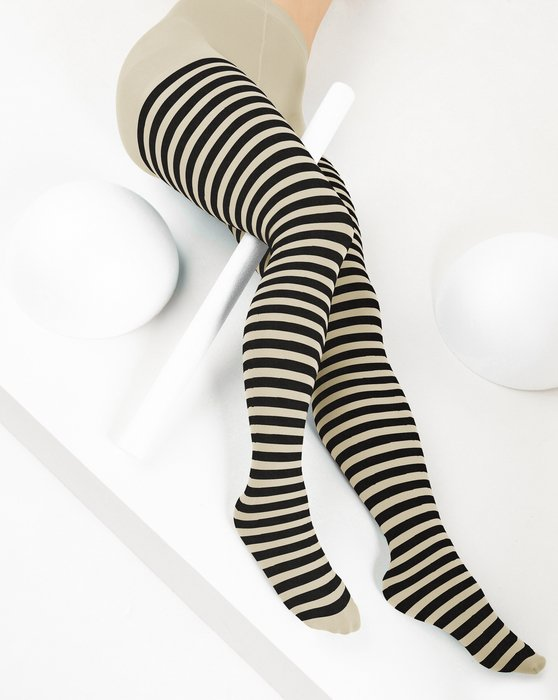 Light Tan Black Striped Tights Style# 1202 | We Love Colors