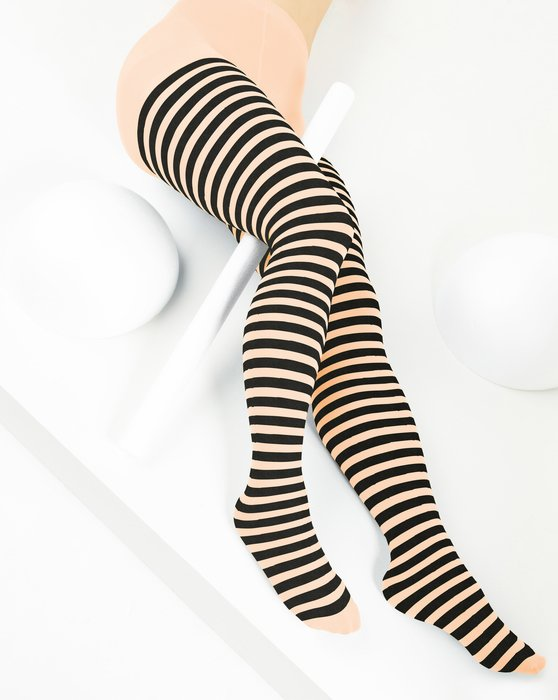 Peach Womens Black Striped Tights Style# 1202 | We Love Colors