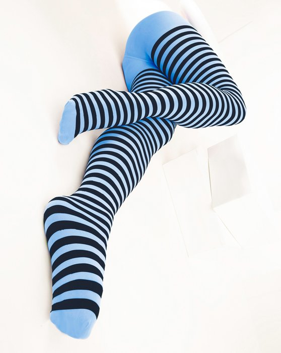 Sky Blue Womens Black Striped Tights Style# 1202 | We Love Colors