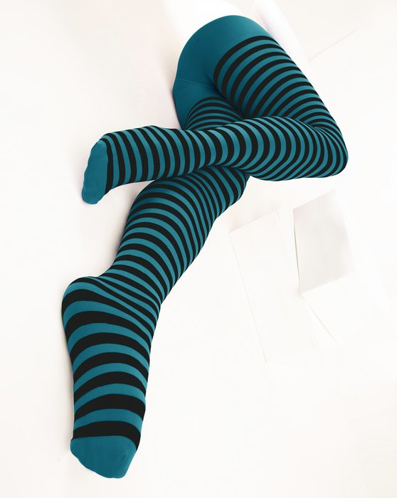 Teal Black Striped Tights Style# 1202 | We Love Colors