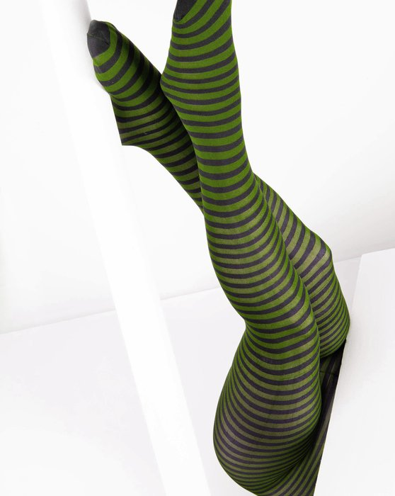Olive-Green Womens Black Striped Tights Style# 1202 | We Love Colors