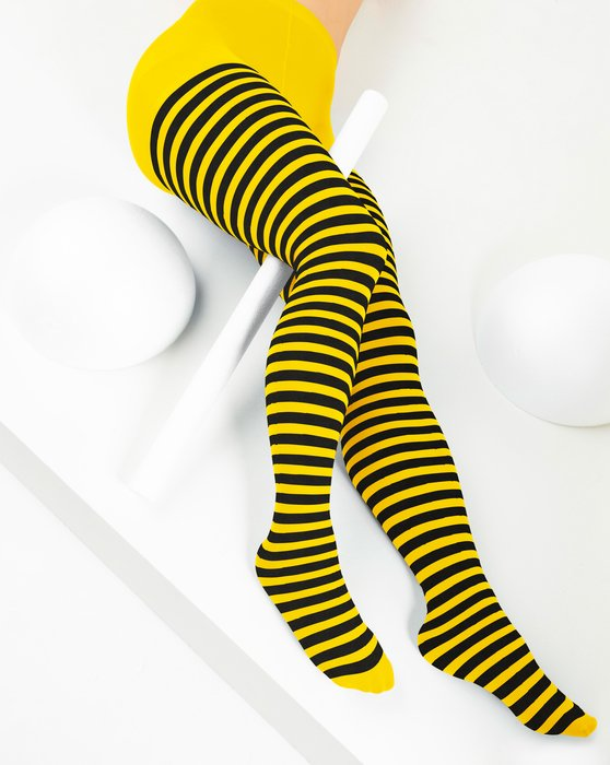 Yellow Black Striped Tights Style# 1202 | We Love Colors
